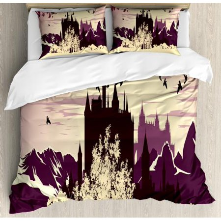 Fairy Tale Queen Size Duvet Cover Set, Castle Silhouette with Mountains  Landscape and Lush Forest Design, Decorative 3 Piece Bedding Set with 2  Pillow