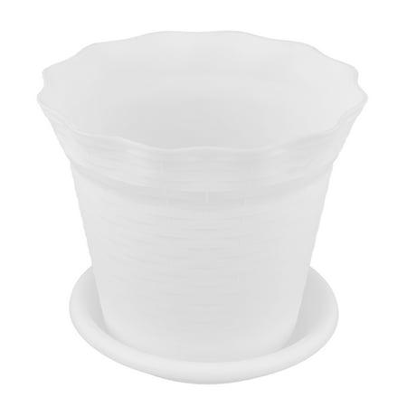 Unique Bargains White 18.7cm Diameter Plastic Round Flower Pot Plant Garden Planter w -