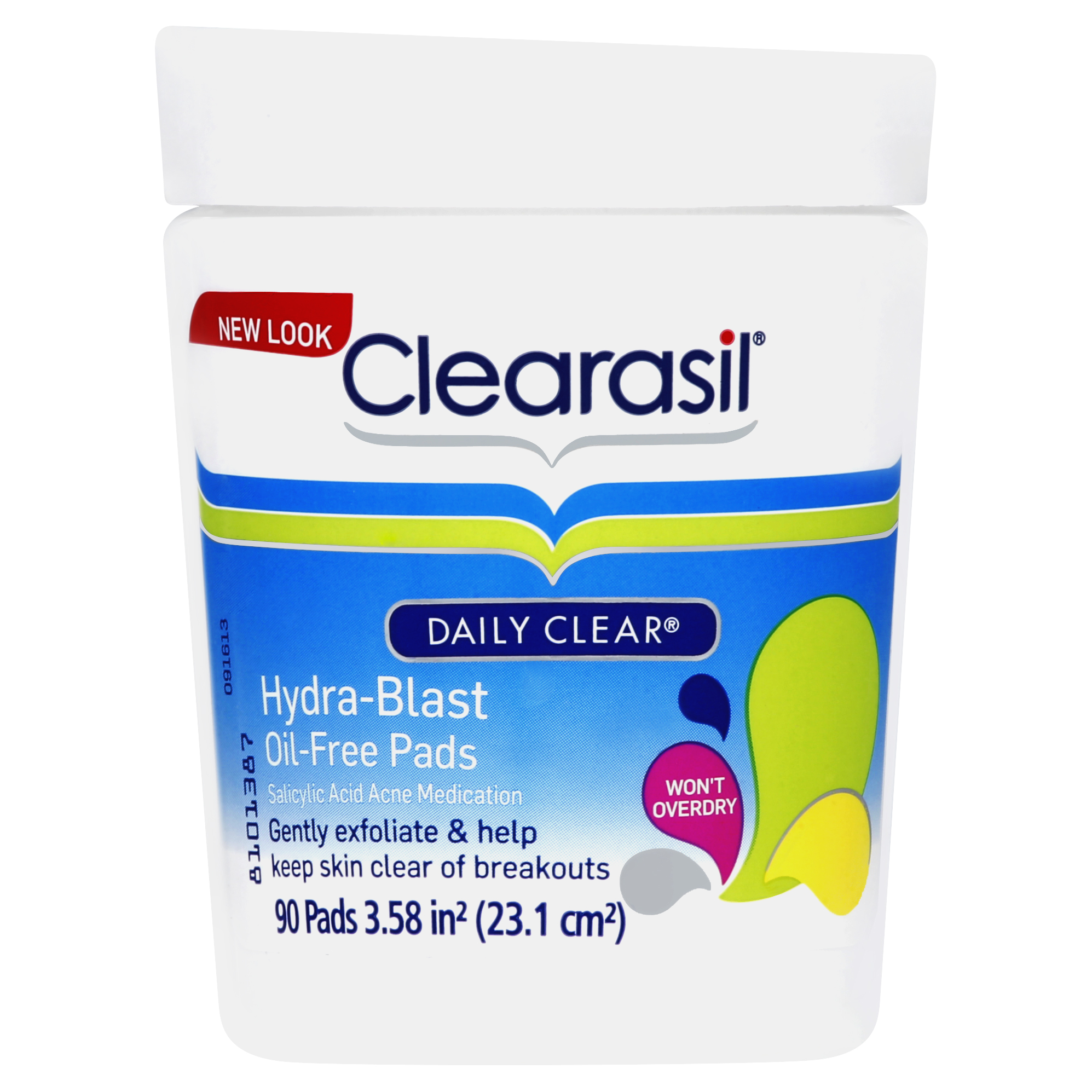 Clearasil Daily Clear Acne Face Pore Cleansing Pads, Hydra-Blast Oil-Free Facial Pads, 90 Count