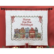 Herrschners  Home for the Holidays Lap Quilt Top Stamped Cross-Stitch Kit