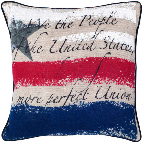 Rizzy Home We the People Vintage Print United States Decorative Throw Pillow