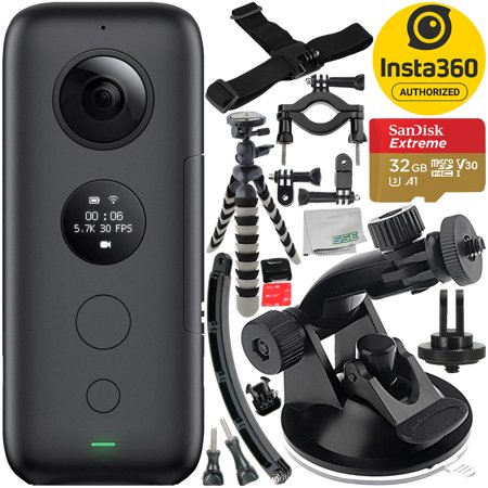 Insta360 ONE X Action Camera with 8PC Accessory Bundle – Includes: SanDisk Extreme 32GB microSDHC Memory Card + Suction Cup Mount + Gripster Tripod + Helmet Arm Mount Kit + Bike Mount Kit +