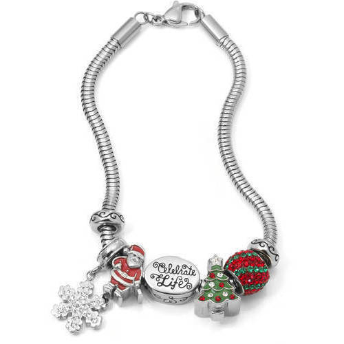 """Connections from Hallmark Crystal Stainless Steel """"Celebrate Life"""" Christmas Charm Bracelet Set"""