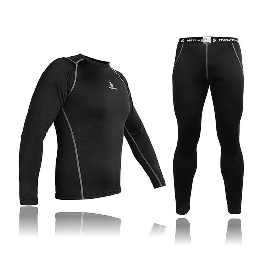 Mens Compression Base Layer Run Cycling Bicycle Bike Top Shirt Leggings Tights Set