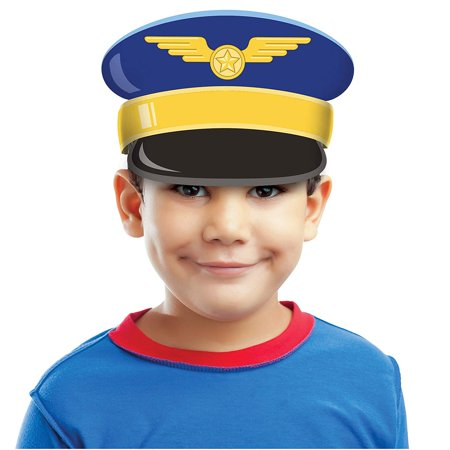 8 Lil' Flyer Airplane Birthday Party Favor Headband Hats, One Package of 8 Airplane Party Captain Cap Headbands By Creative Converting - Party City Flyer