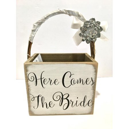 Here Comes The Bride Wood Basket Wedding Keepsake With Detachable Brooch](Wedding Baskets)