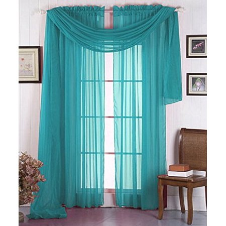 LuxuryDiscounts Beautiful Elegant Solid Turquoise Sheer Scarf Valance Topper 37