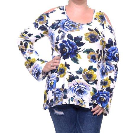 Karen Kane Woman Printed Top (Karen Kane Blue Top Blouse Cold Shoulder Size XL NWT -)