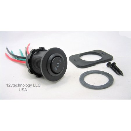 Double Pole Double Throw (DPDT) Rocker Switch Center Off Double 12V Round Black #swblk6