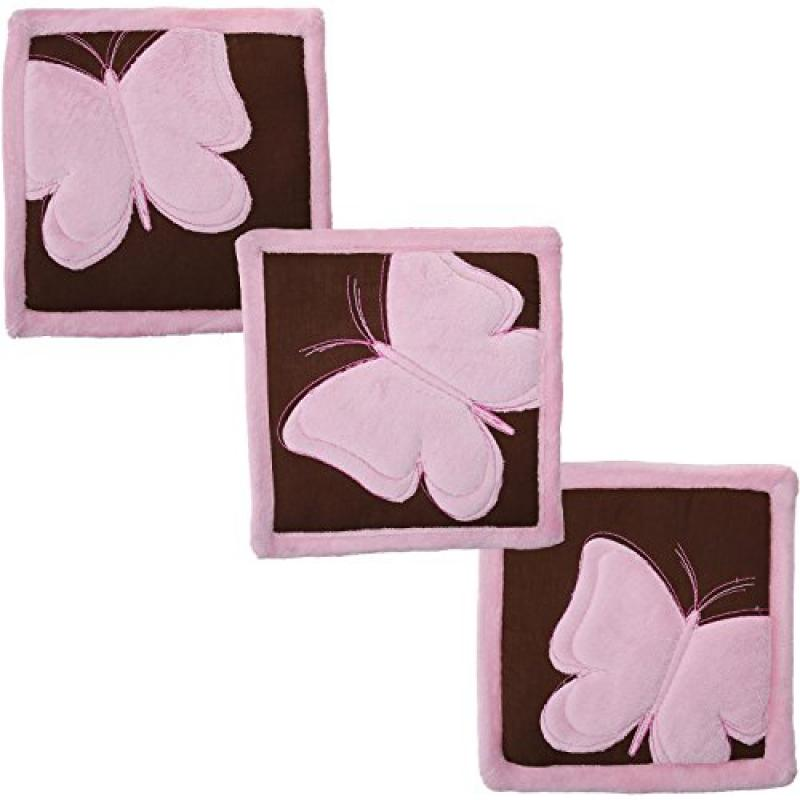 Tadpoles 3 Piece Butterfly Baby Wall Hangings Set, Pink Brown by Tadpoles