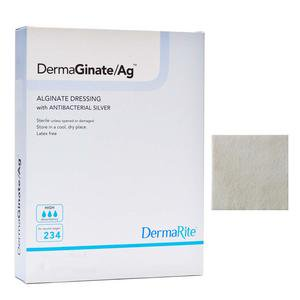 DermaGinate Ag Alginate Wound Dressing with Antibacterial Silver, 4