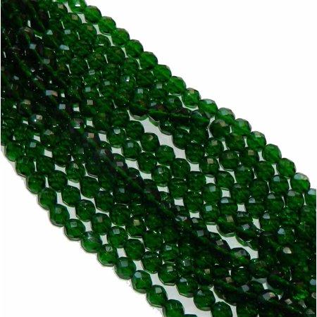 48 Firepolish Faceted Czech Glass, Loose Beads, 4mm Green Emerald - Faceted Emerald Green
