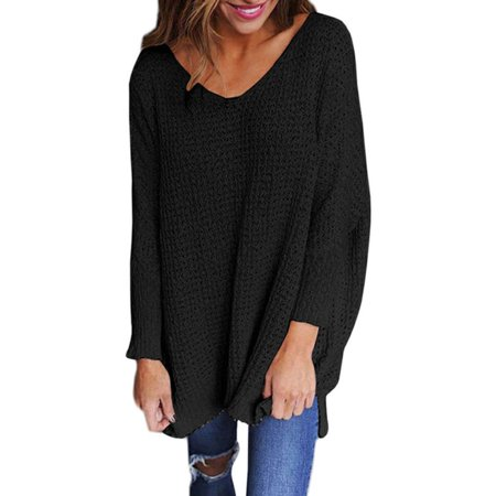 Women's V Neck Knitted Sweater Oversized Loose Casual Chunky Jumpers Auutmn Tops