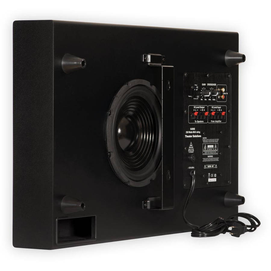 """Theater Solutions SUB8S Home Theater Powered 8"""" Slim Subwoofer Mountable Sub"""