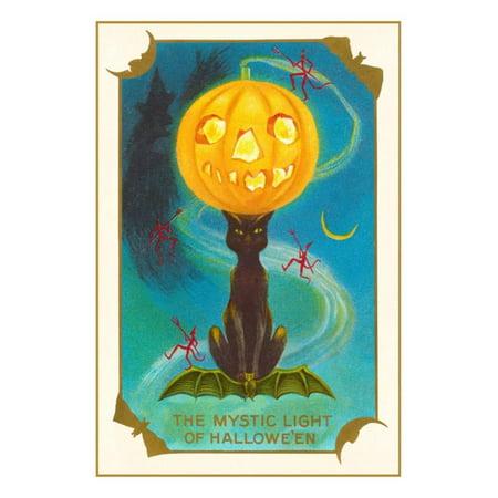 Mystic Light of Halloween, Jack O'Lantern on Black Cat Print Wall Art - Black Cat Halloween Clip Art