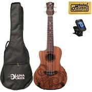 Luna Guitars A/E Concert Tattoo LEFTY w/Tuner & PC, UKE TEC MAH L PACK
