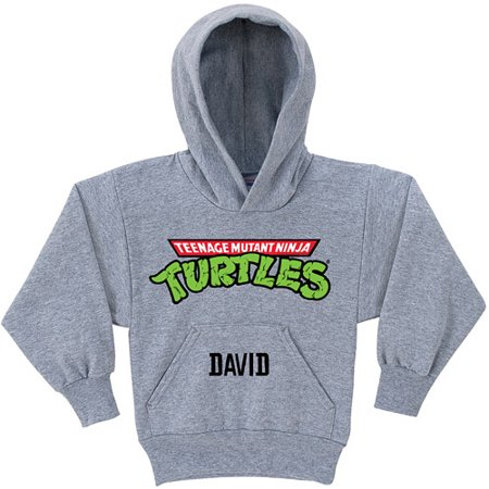 Personalized Teenage Mutant Ninja Turtles Retro Logo Gray Youth Hoodie