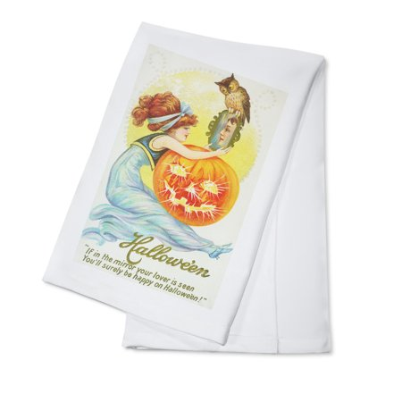 Halloween Names For Dishes (Halloween Scene of Woman Looking at Lover in Mirror (100% Cotton Kitchen)