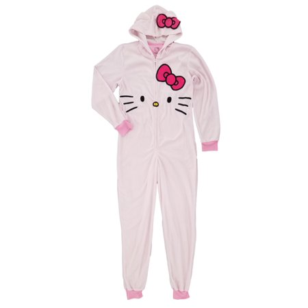 Womens Pink Fleece Hello Kitty Blanket Sleeper Kitten Cat Pajama Union Suit