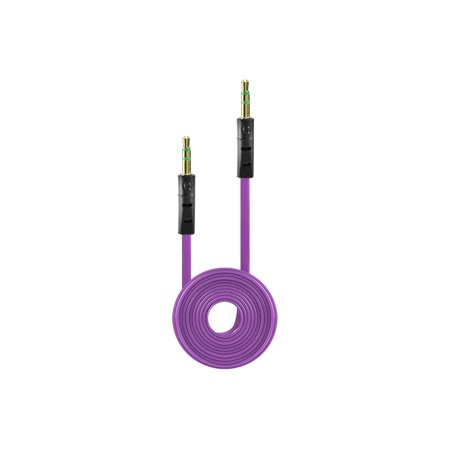 Tangle Free Flat Wire Car Audio Stereo Auxiliary Aux Cord Cable Adapter for iPhone 6S 6 Plus 5.5 / 4.7 Samsung Galaxy S8 S8 Plus S7 Headphones, iPods, iPhones, iPads, Home / Car Stereos - Purple