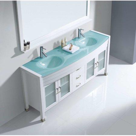 Virtu Usa Ava 71  Glass Double Bathroom Vanity Cabinet Set In Espresso