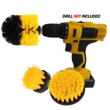 Fysho 3Pcs/Set Power Scrubber Drill Brush Drill Attachment Kit for Cleaning Pool Tile, Flooring, Brick, Ceramic, and