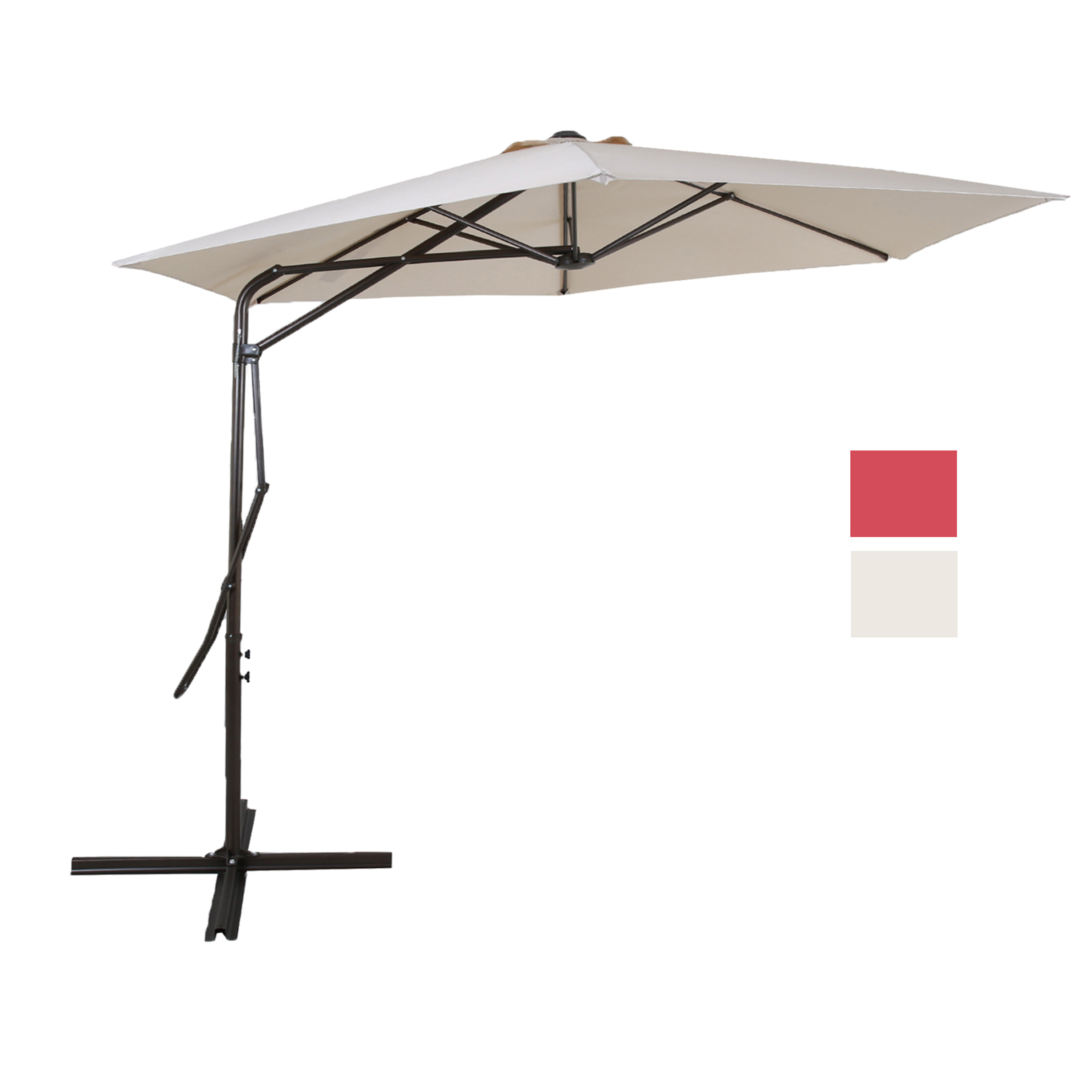Superieur 9 Ft Cantilever Patio Umbrella With Strong Sturdy Hand Push Round,6 Steel  Ribs,UV Resistant,Beige