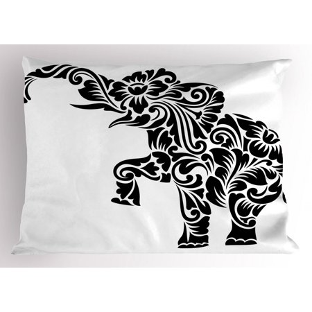 Elephant Pillow Sham Floral Ornamental Ethnic African Sacred Animal Symbolism Mammal Tattoo Art, Decorative Standard Queen Size Printed Pillowcase, 30 X 20 Inches, Black and White, by Ambesonne