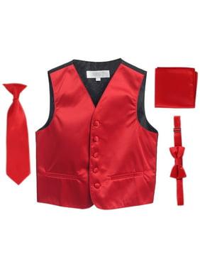 Red Vest Necktie Bowtie Pocket Square Boys Set 4-6
