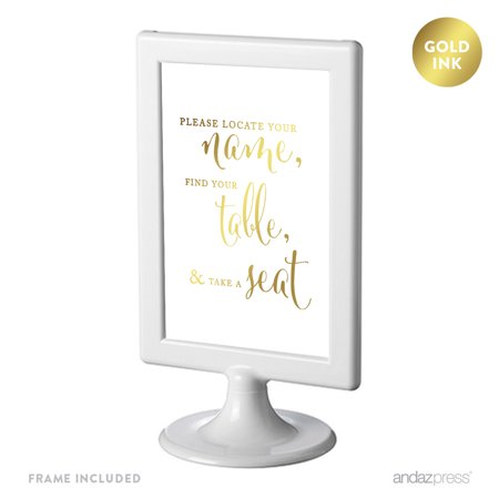 Party Names (Locate Your Name, Find Table, Take Seat Framed Metallic Gold Wedding Party)