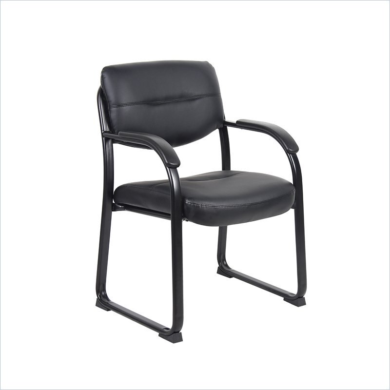 Boss Office Products Leather Sled Base Side Chair with Arms - image 1 de 1