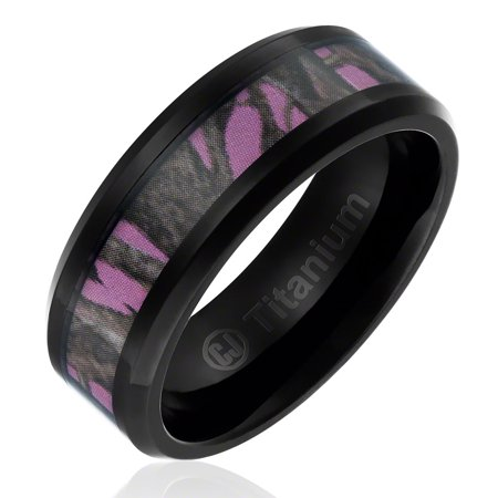 Womens Wedding Band in Titanium 8MM Black Plated Camo Hunting Ring with Forest Camouflage on Pink Background](Orange Camo Wedding Rings)