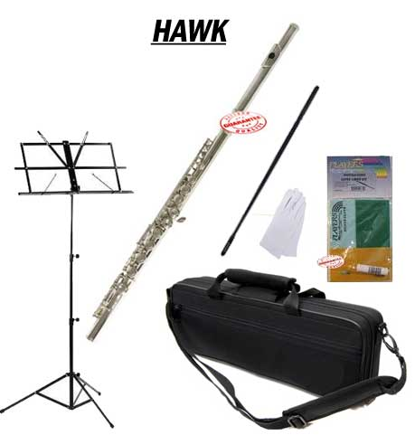 Hawk Nickel Closed Holed Student Flute School Package with Case, Music Stand, and Cleaning Kit