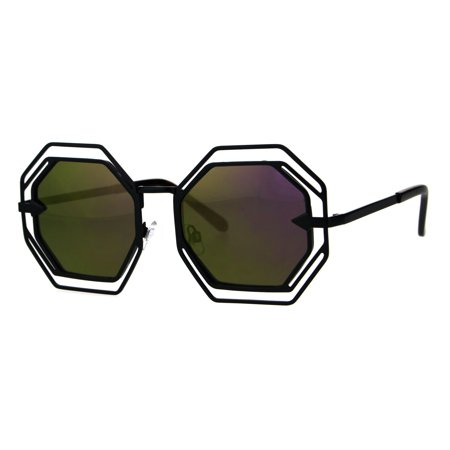 Womens Victorian Geometric Art Deco Metal Rim Octagon Color Mirror Sunglasses Black Purple - Devo Sunglasses