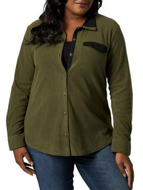 Lee Riders Women's Plus Size Knit Fleece Long Sleeve Shirt Jacket