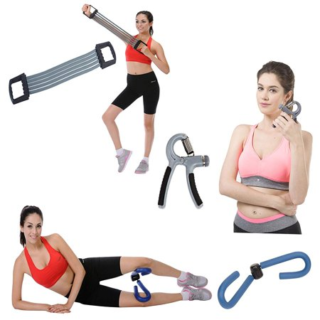 Home Fitness Combo Chest Expander, Adjustable Hand Gripper and Thigh Master Exercise Routines Toning, Sculpting and Great Grip