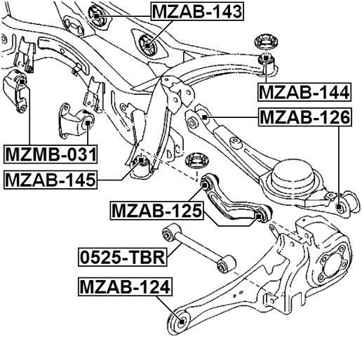 Febest Mzab 126 Arm Bushing Rear Suspension Ford Edge 2007 2014