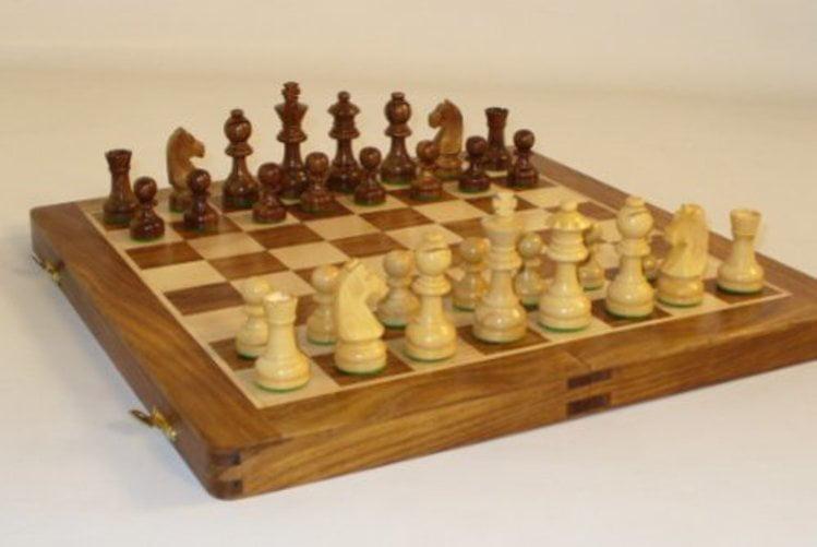 """14"""" Sheesham and Maple Folding Chess Set by WorldWise Imports"""