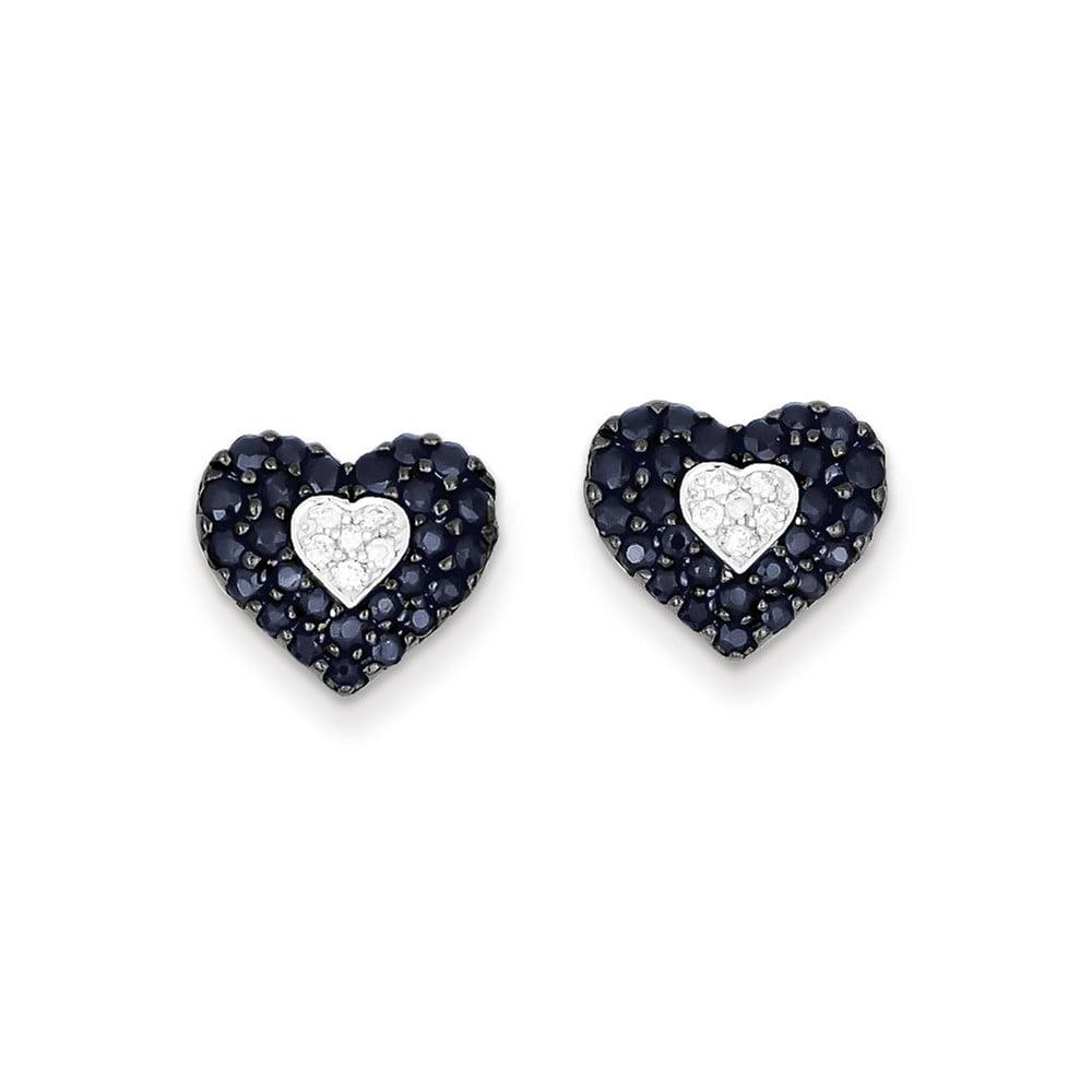 Sterling Silver Diamond & Sapphire Heart Post Earrings. Carat Wt- 1.6ct (0.4IN x 0.4IN )