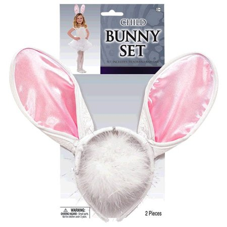 Child Bunny Costume Set Pink White Ears Headband, Tail](Kids Bunny Costumes)