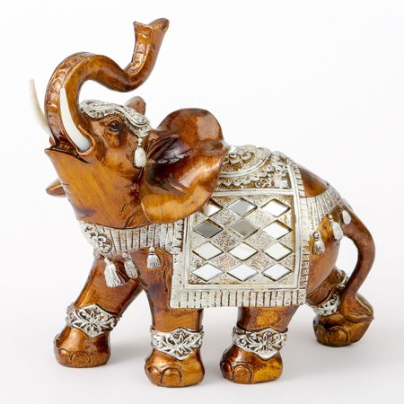 Polyresin Elephant (Mahogany with Silver Accents Elephant Large Size)