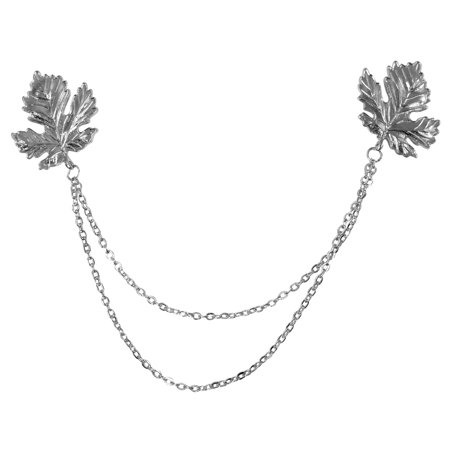 Evelots Silver Leaf Sweater Collar Brooch Pin-Chain-Clip-Shawl-Blouse-Cardigan