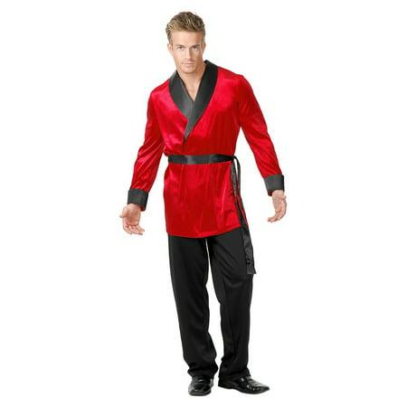 Red Velvet Smoking Jacket Adult Costume - Plus Size 3X