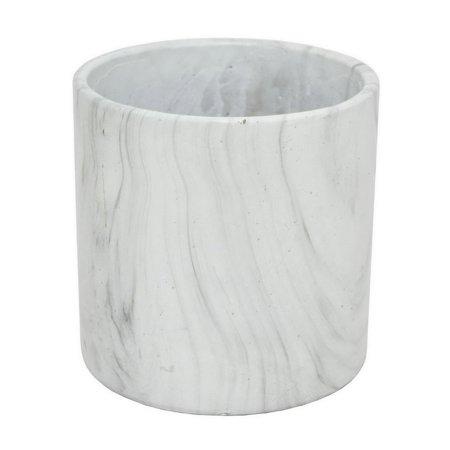 "8"" White Marble Look Flower Pot"