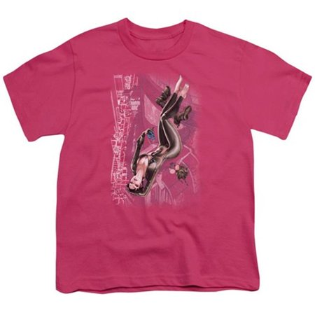 Trevco Jla-Catwoman No.1 - Short Sleeve Youth 18-1 Tee - Hot Pink, - Catwoman Hot