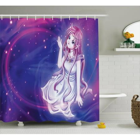 Anime Shower Curtain Cute Purple Fairy Sitting In Theme Of Zodiac Astrology Horoscope Sign