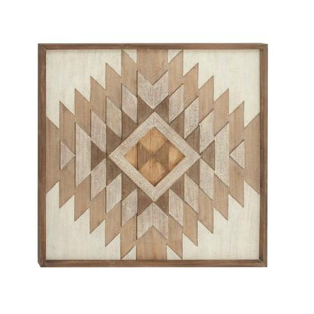 Fir Wood (Decmode Farmhouse 32 X 32 Inch Fir Wood Marquetry Wall Plaque, Dark Brown)
