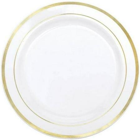 amscan 438985 white gold trimmed premium plastic dinner