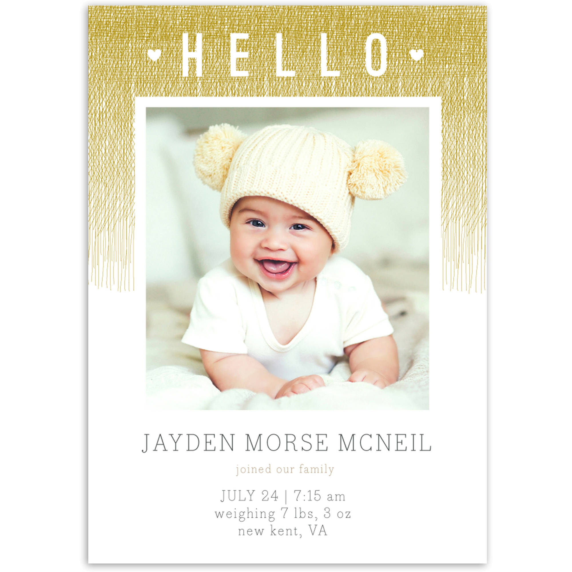 Crosshatch Greeting Baby Announcement