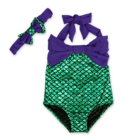 7d154550d7a16 Redcolourful Girls  One-Piece Mermaid Bikini Set Swimwear Swimsuit ...